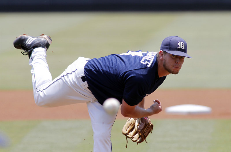 Maine starter A.J. Bazdanes delivers a pitch against James Madison on Sunday in the Chapel Hill Regional at the University of North Carolina at Chapel Hill, N.C. The Black Bears lost 5-2, ending their first trip to the NCAA tournament since 2006.