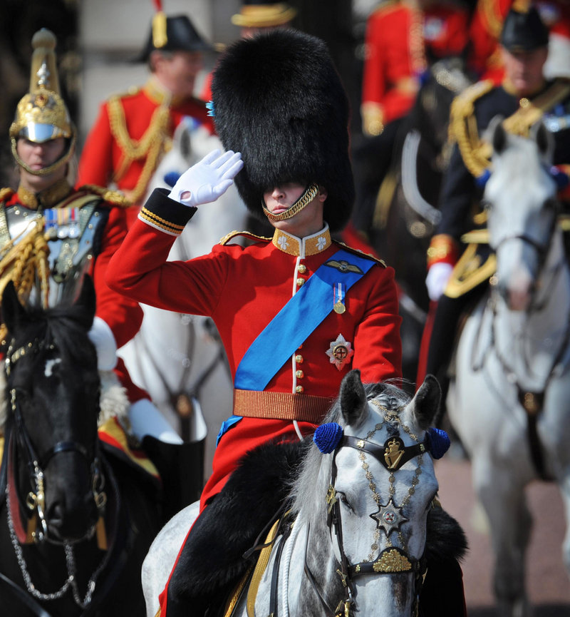 Prince William leaves Buckingham Palace on horseback Saturday to take part in rehearsals for the ceremony to mark the queen's birthday.