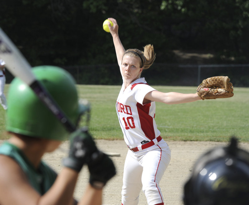 Sam Adams not only pitched a four-hitter for Sanford in a softball prelim Tuesday against Massabesic, she also scored the winning run.