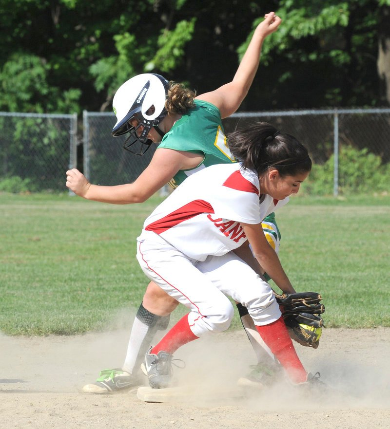 Allison Legere of Sanford snags the throw, but too late to prevent Massabesic's Amber Libby from stealing second base Tuesday in a Western Class A softball prelim. Sanford advanced with a 3-1 victory.