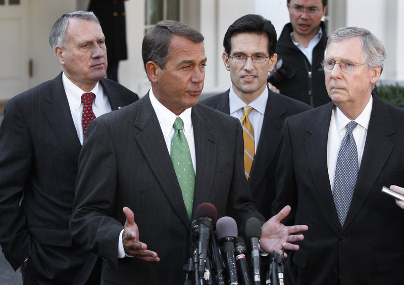 GOP leaders guiding talks on budget cuts tied to raising the federal debt ceiling include, from left, Sen. Jon Kyl of Arizona, House Speaker John Boehner, House Majority Leader Eric Cantor and Senate Minority Leader Mitch McConnell.