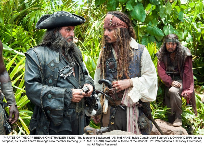 Blackbeard the pirate (Ian McShane) and Capt. Jack Sparrow (Johnny Depp) face off in
