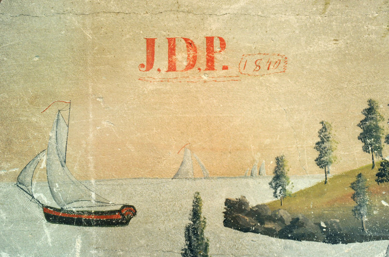 The murals were painted by Jonathan Poor, who left his initials and the date, 1840, on this detail.