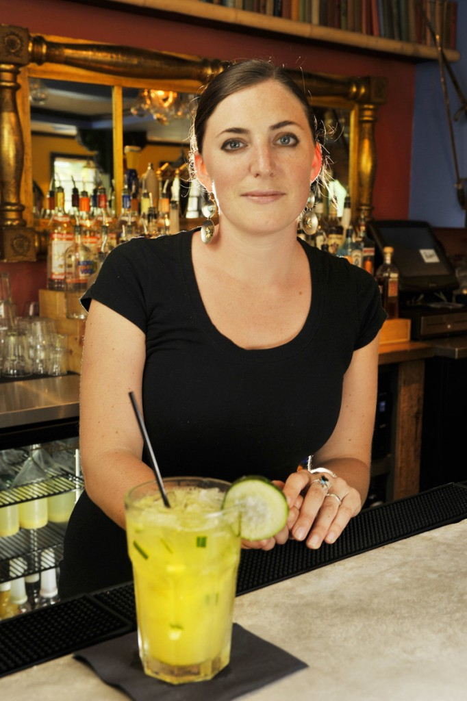 Bartender Sara Robinson with one of the signature margaritas at Pedro's –