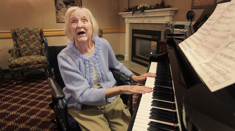 Carrie Shaw Day, who is 105 years old and a former music teacher at Morse High School, will play