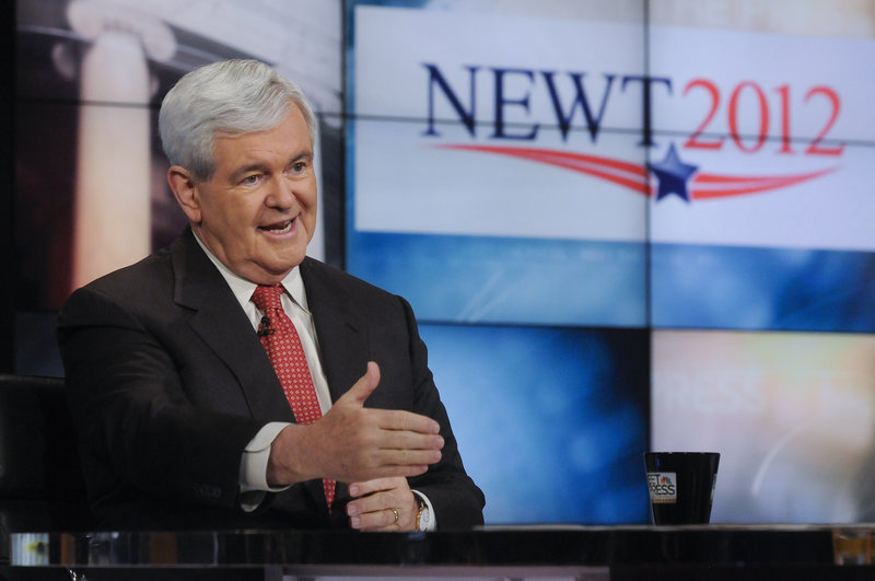 "Former House Speaker Newt Gingrich is interviewed on NBC's ""Meet the Press"" in Washington on May 15."