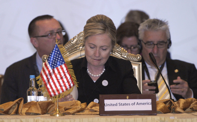 Secretary of State Hillary Rodham Clinton attends the Contact Group on Libya meeting at the Emirates Palace Hotel in Abu Dhabi, United Arab Emirates, on Thursday.