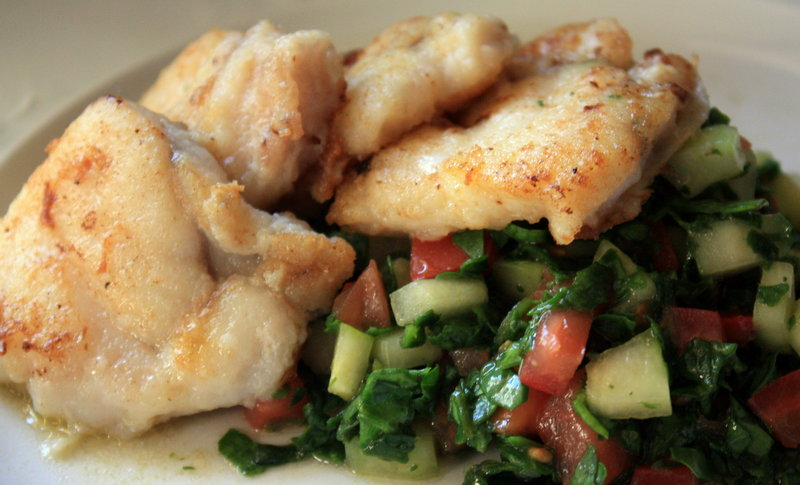 Pan-fried monkfish, with potatoes or rice, could be the perfect dinner combination.