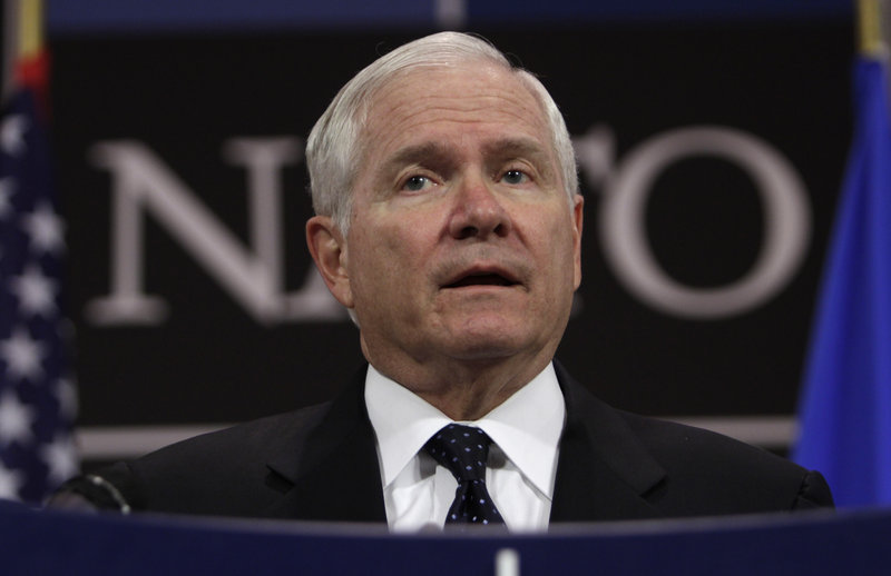 U.S. Defense Secretary Robert Gates told an audience in Brussels on Friday that other members of NATO must assume more of the burden of their own defense.