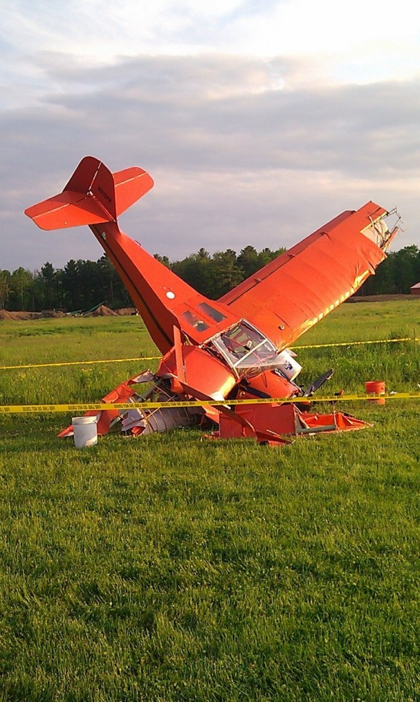 A single-engine plane is stuck in the ground with its tail in the air after crashing in Scarborough on Friday evening.