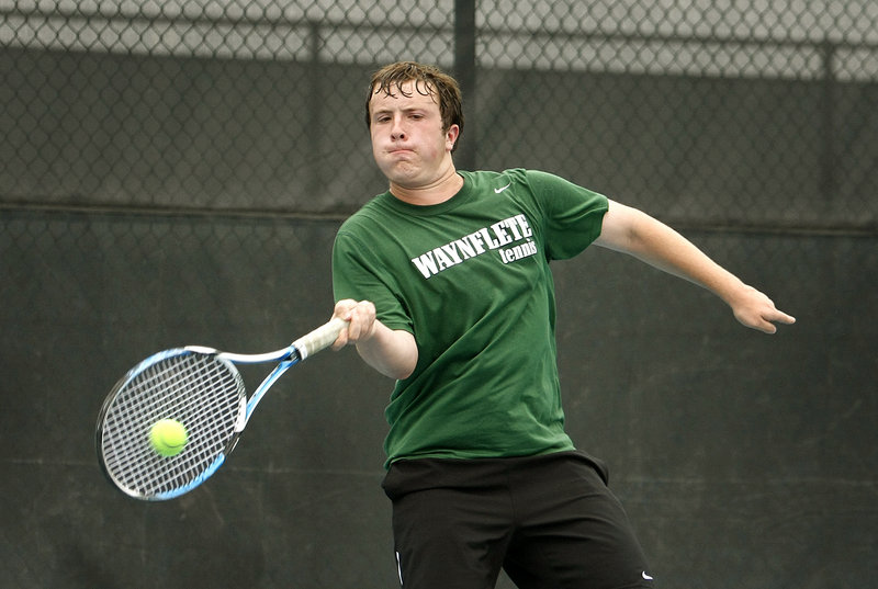 Ben Shapiro was the final player on the court during Waynflete's state title match with George Stevens Academy, playing Alexander Heilner. He survived five match points to win his match and secure the title for the Flyers.