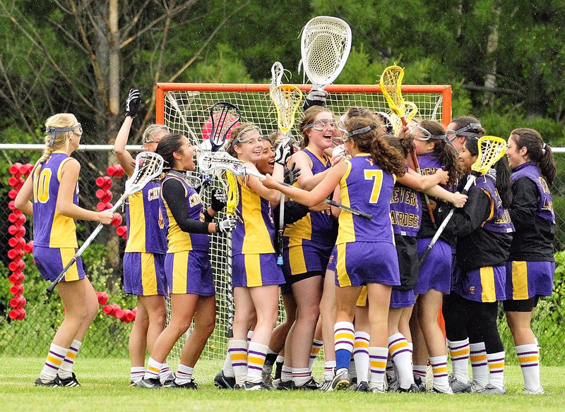 Celebration time came Saturday for the Cheverus girls' lacrosse team, which advanced to the Eastern Class A championship game with an 11-9 victory against Cony. The Stags will meet Brunswick in the final.