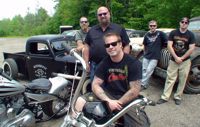 Jason Grimes, seated on bike, poses with his crew at Northeast Chop Shop on Route 302 in Windham. From left are John Phillips, Doug Rasmuson, Gordy Pierce and Tim Klein.