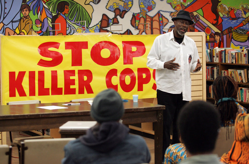 Cephus Johnson speaks at a meeting of the Los Angeles Coalition for Justice for Oscar Grant on Saturday.