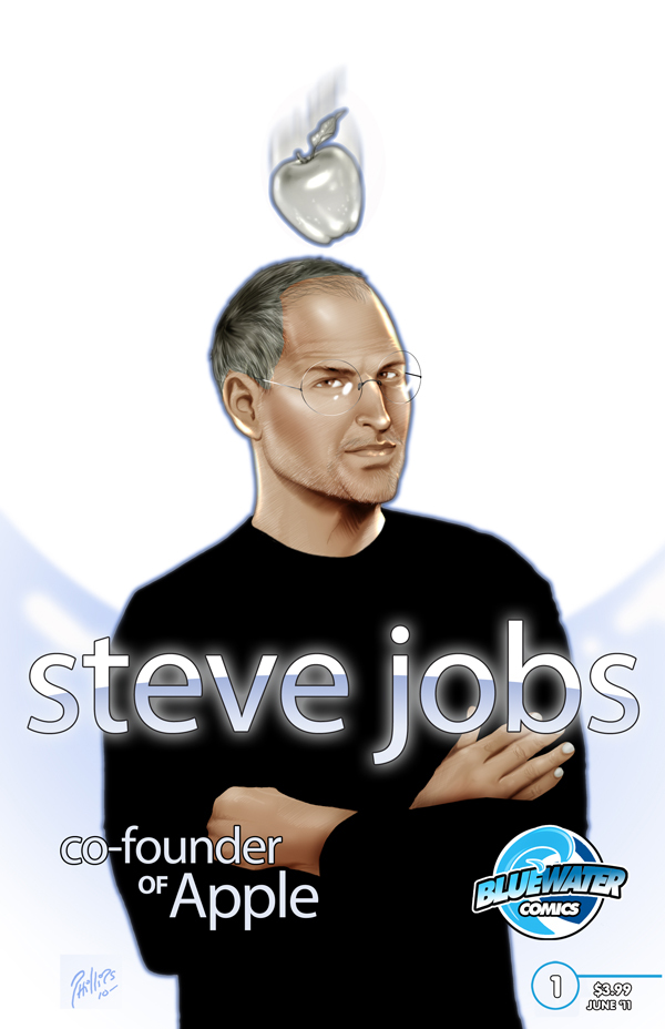 Apple co-founder Steve Jobs is pictured on the cover of the Bluewater Comics biography issue. The one-shot issue was created in part because of sales from its last profile subject, Facebook founder Mark Zuckerberg.