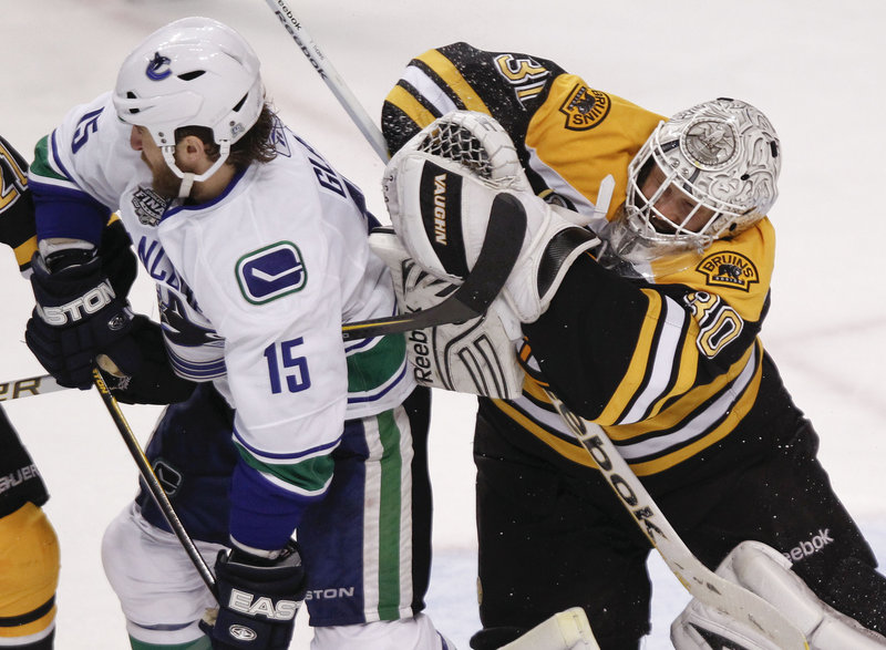 Bruins goalie Tim Thomas has been a standout throughout the finals against Vancouver, keeping pucks out of the net and Canucks out of the crease.