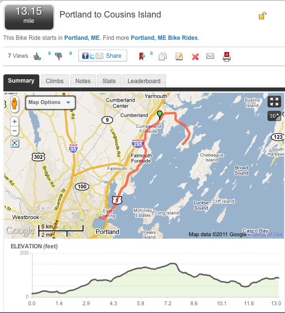 Bikers can find details on routes – like this one from Portland to Cousins Island – and other helpful information at MapMyRide.com.