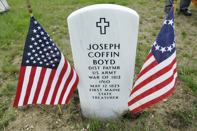 A marble headstone now marks the Eastern Cemetery grave of Joseph Coffin Boyd, who once paid American soldiers out of his own pocket during the War of 1812.