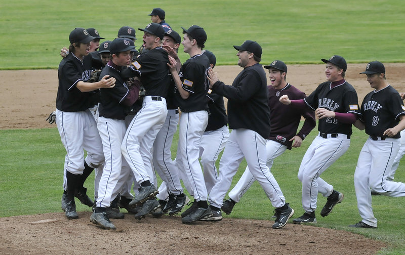 The Greely players rush the field after the final out Tuesday clinched a 7-5 victory against Yarmouth for the Western Class B baseball championship at St. Joseph's College in Standish. The Rangers will meet Waterville, the defending state champion, in the state final at 4 p.m. Saturday at St. Joseph's.