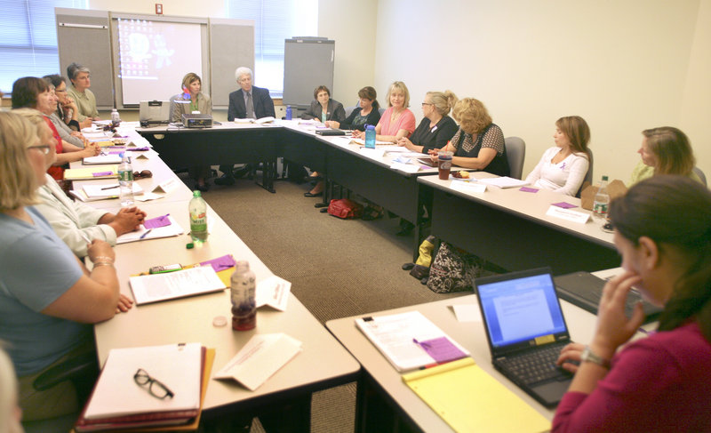 The state Domestic Abuse Homicide Review Panel meets in Augusta. Groundbreaking steps that other states are taking to prevent domestic violence homicides include electronic monitoring and strict enforcement of bail condition violations.