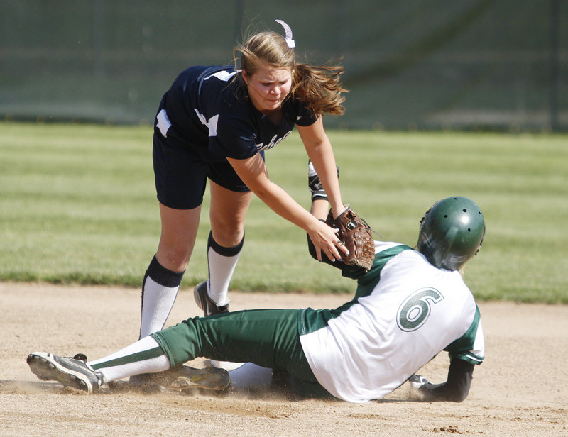 Kallie Brown of Telstar tags out Jill Bradbury of Georges Valley, who was attempting to steal second in the second inning of the Western Class C final Wednesday. Telstar won, 5-4.
