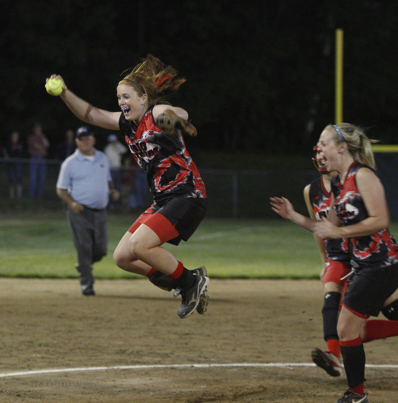Mo Hannan of Scarborough leaps in the air after making the final out in a 1-0 win over South Portland. Hannan struck out 11.