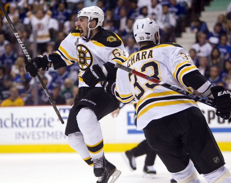 Brad Marchand of the Boston Bruins starts a celebration that will last for days, joined by Zdeno Chara, the team captain, after scoring against the Vancouver Canucks in the second period of what turned into a 4-0 victory in Game 7.