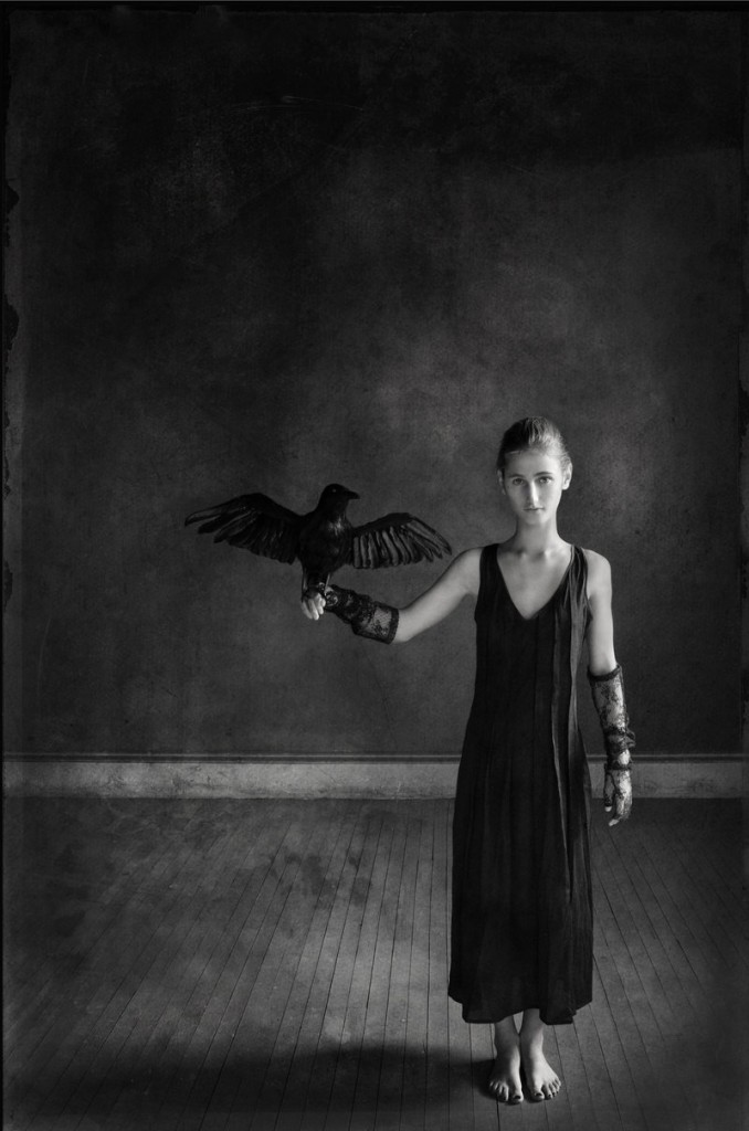 "J. Felice Boucher won first place in the ""Through the Lens"" competition for his piece ""Girl with Crow."""