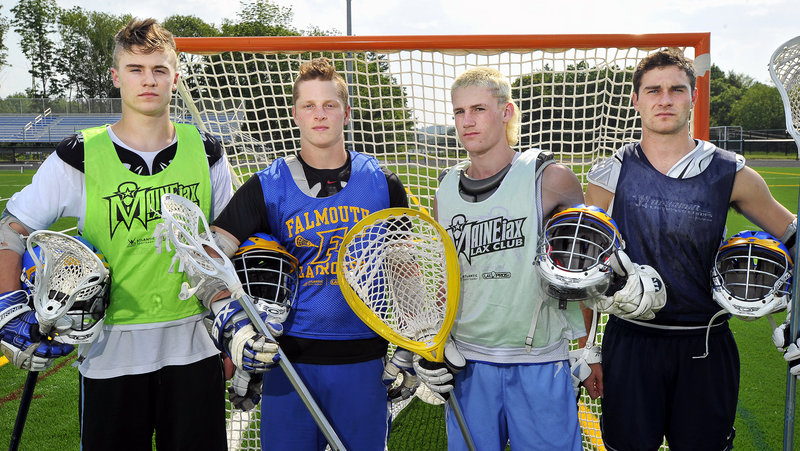Falmouth, which will meet North Yarmouth Academy at 3:30 p.m. today for the Class B lacrosse championship in Portland, has a defense that enters every game with the idea of a shutout. Included, left to right, are Mike Ryan, Caleb Bowden, goalie Cam Bell and Mike Bloom.