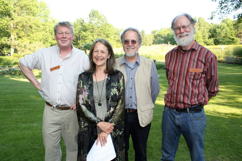"Curator June LaCombe stands with sculptors Digby Veevers-Carter, Roy Patterson and Steve Lindsay, the three artists who will give Sunday afternoon talks in conjunction with the ""Between Earth and Sky"" show."