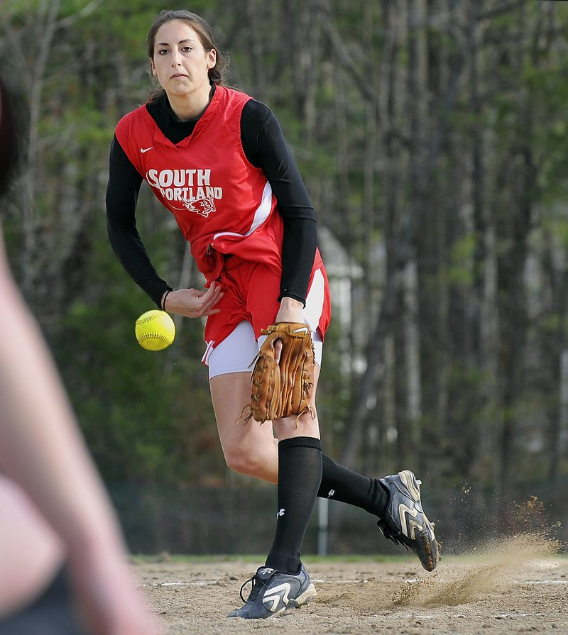 Alexis Bogdanovich went 10-0 with a 0.10 ERA, this season for South Portland, and hit .577 with two HRs and 23 RBI.