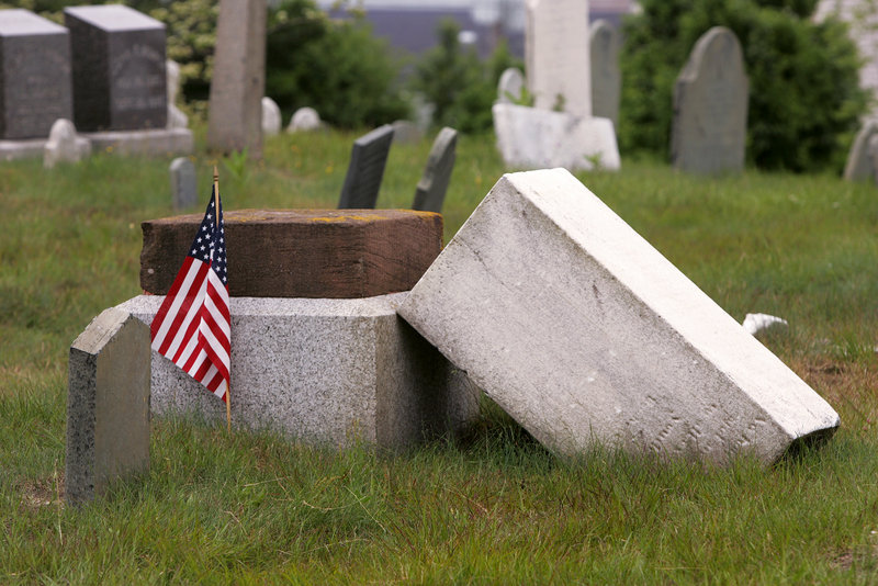 A monument marks the grave of Lt. Henry Wadsworth, uncle of poet Henry Wadsworth Longfellow, in Eastern Cemetery in Portland. His remains are in an unmarked grave in Libya.