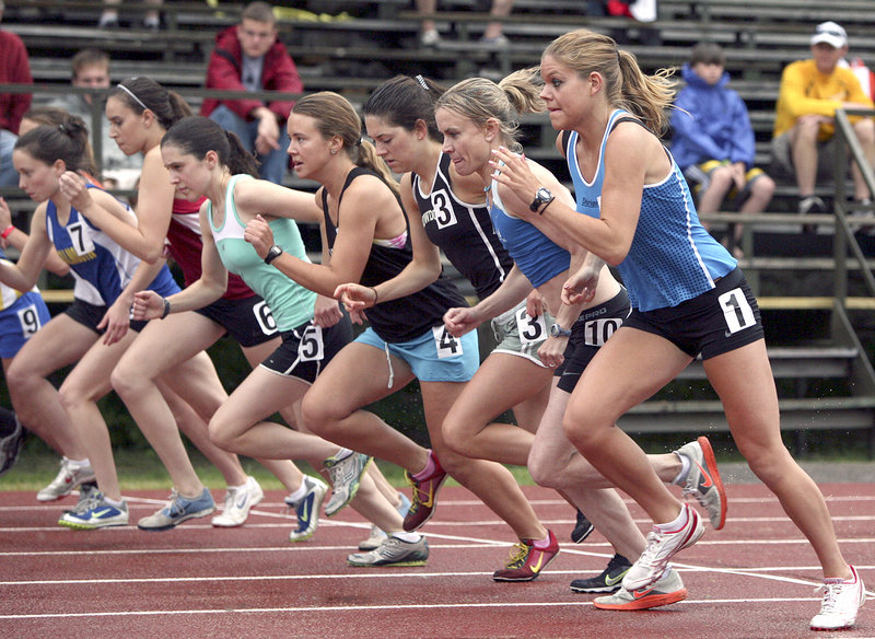 The women's open 2 mile, high school girls' open 2-mile and women's open one-mile races all get under way at once Friday, featuring former Scarborough High star Erica Jesseman, far right, and Scarborough resident Kristin Barry, second from right, Friday night at the Maine Distance Gala.
