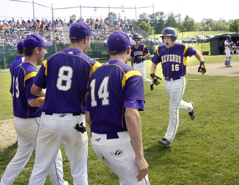 Peter Potthoff, who plans to concentrate on academics in college, ended his baseball career in style, crushing a two-run homer in the sixth inning to cap a 9-1 Cheverus victory against Lewiston.