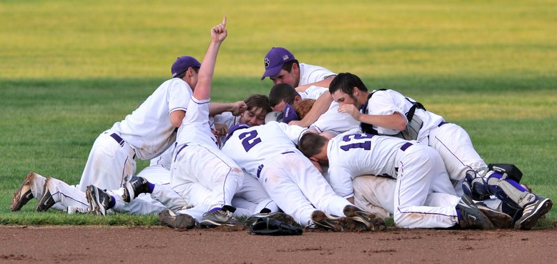 Piling-on time was worth the wait Saturday for the Waterville High baseball team, which sat through a 1-hour, 47-minute rain delay, then won its second straight Class B baseball state championship with a 1-0 victory against Greely.