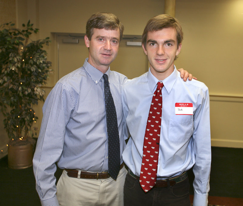 Jack Terwilliger, the boys' outdoor track and field MVP from Cheverus, was accompanied by his father, Jack.