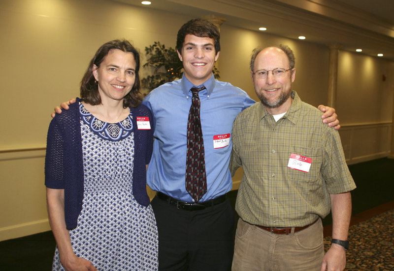 Ethan Burke, the boys' skiing MVP from Hampden Academy, was accompanied by his parents, Sally and Rob.