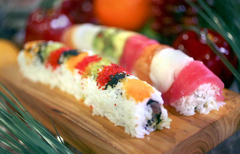 Rainbow rolls at the Jan Mee Chinese Restaurant at Union Station Plaza in Portland.