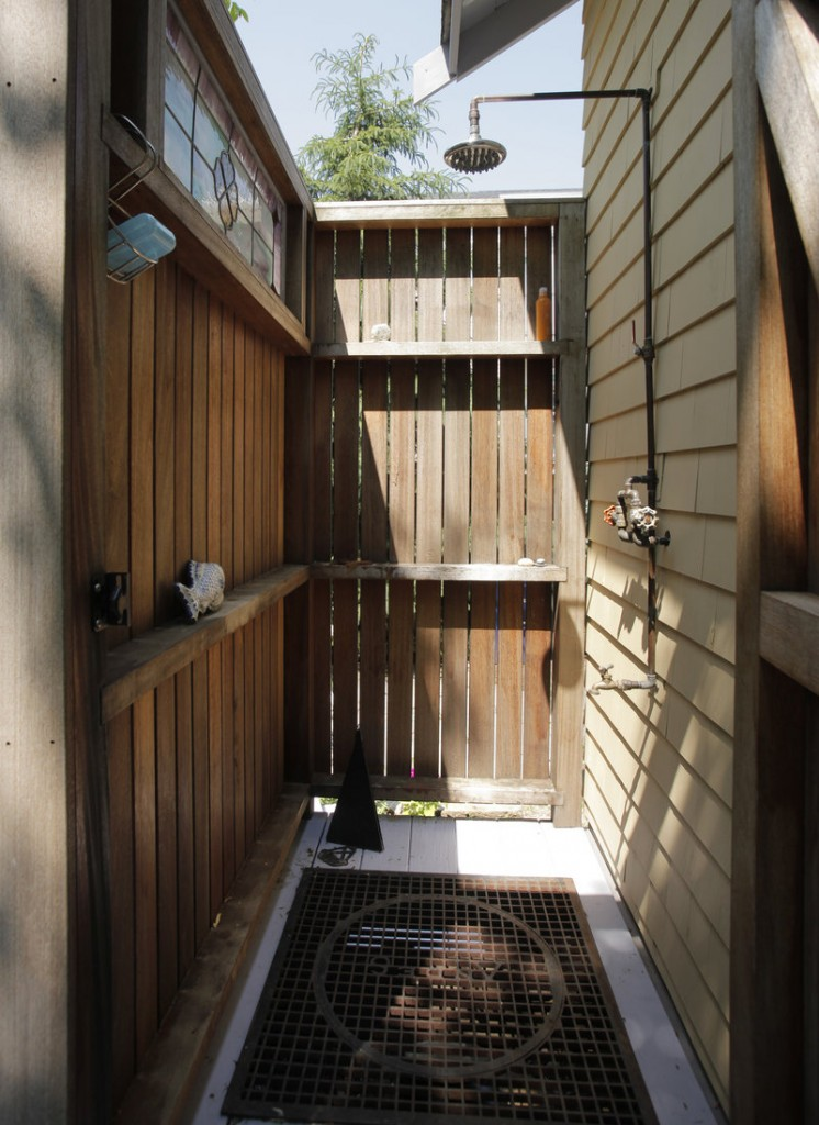 The outdoor shower on Townsend's back deck.