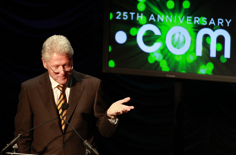 Former President Clinton speaks at a dot-com forum in Washington last year. Domain names are facing their biggest change since the Internet was created in 1984.