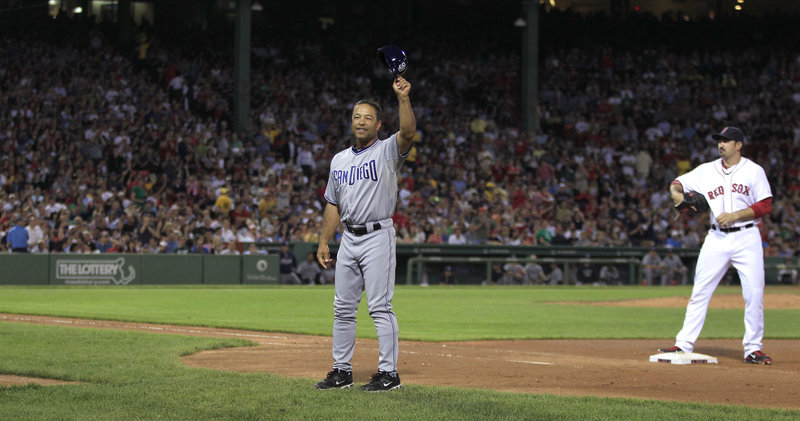 Dave Roberts, the Padres' first base coach, is legendary at Fenway Park for a stolen base in the 2004 playoffs against the Yankees. Roberts also is being treated for Hodgkin's lymphoma and got a good medical report.