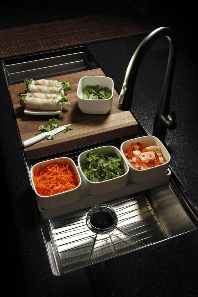 This sink with integrated food prep bowls and cutting board was unveiled at the 2011 Designer Showcase in Kansas City.