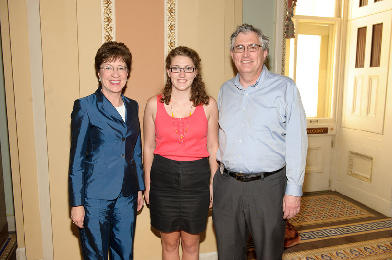 Sen. Susan Collins meets with Lizzie and Dave Canarie of South Portland.