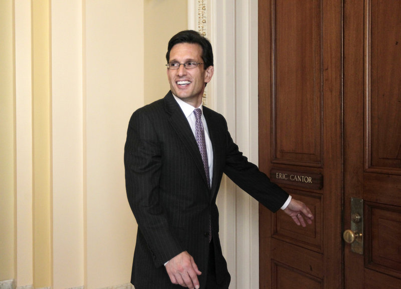 "Debt-reduction talks led by Vice President Joe Biden were ""in abeyance"" Thursday after House Majority Leader Eric Cantor, shown at his office, said he would not attend a negotiating session."