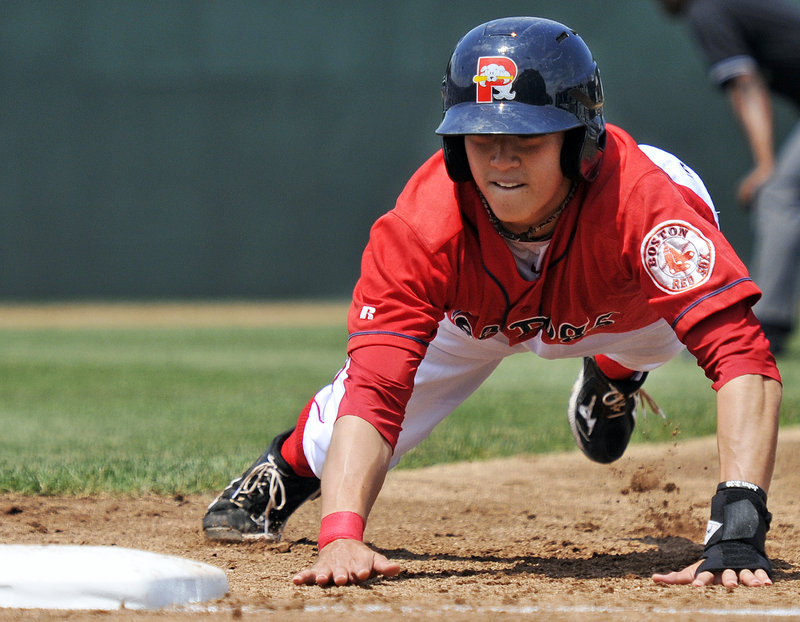 Jon Hee of the Sea Dogs heads back to first base during the game against the New Britain Rock Cats. The Sea Dogs meet New Hampshire tonight.