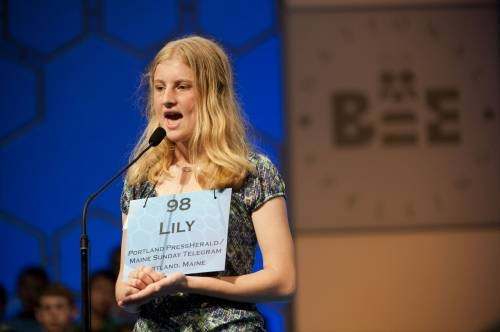 Lily Jordan, 14, of Cape Elizabeth competes in the Scripps National Spelling Bee in National Habor, Md., on Wednesday.