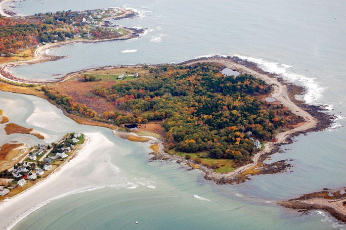 Aerial view of Timber Point.  In addition to a 97-acre peninsula, the property includes this 13-acre island. Courtesy photo