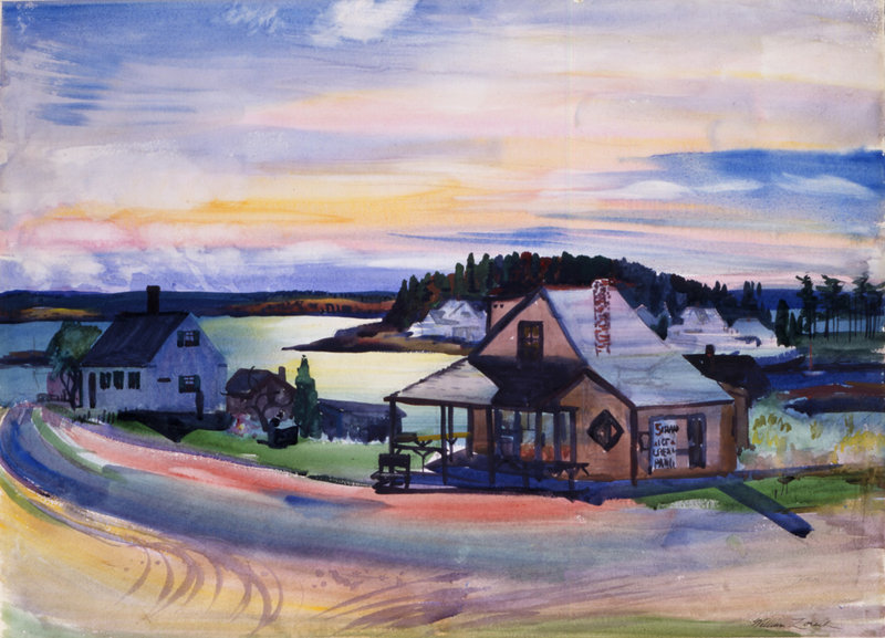 """Five Islands Ice Cream Parlor"" by William Zorach, watercolor on paper, 1940, at the Portland Museum of Art."