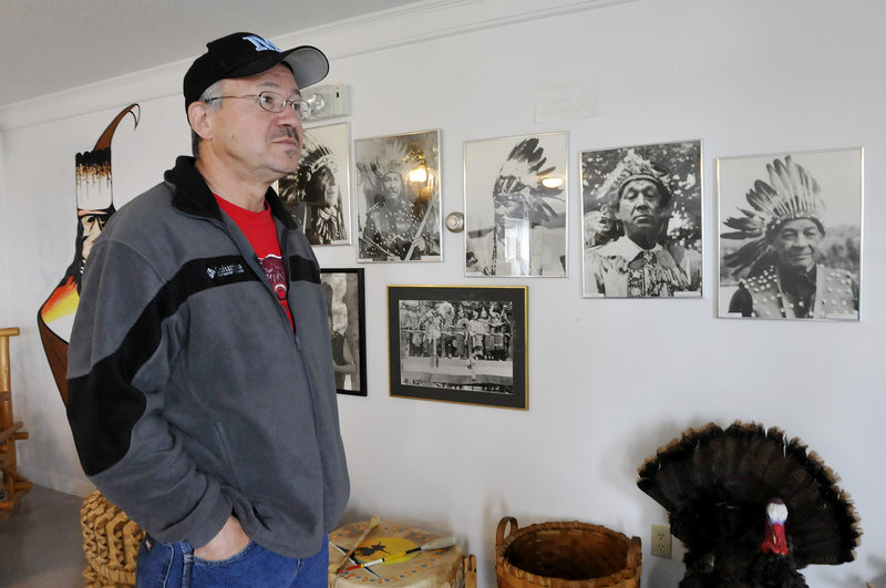 """Historian Donald Soctomah at the Passamaquoddy Cultural Heritage Center & Museum. His children's book, """"Remember Me,"""" won the Moonbeam Gold Medal for Multicultural Picture Books."""