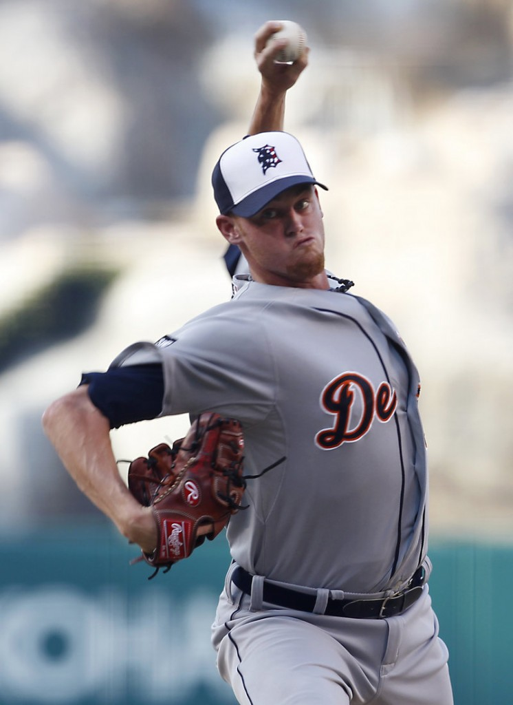 Charlie Furbush delivers a pitch against the Angels on Monday night in Anaheim, Calif. Furbush, who had been a reliever since he was called up to Detroit in May, was making his first start for the Tigers.